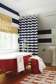 horizontal striped shower curtain transitional bathroom new throughout blue and white designs 11