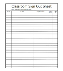 Sample Sign In Sheet Sample Sign Out Sheet Template 8 Free Documents Download