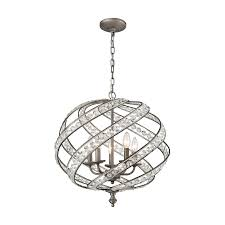 elk lighting 16253 5 crystal renaissance 5 light chandelier in weathered zinc