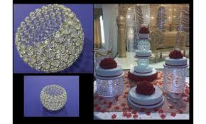 crystal chandelier ball cake stands and separator 10cm top wide 20 cm bottom wide 20 cm height