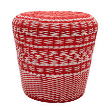 Surya Parkdale 17.7-in Bright Orange Wicker Barrel Garden Stool