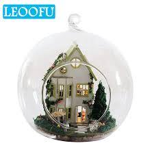 leoofu child brain development toy diy glass ball doll house model furniture handmade wooden miniature assembling dollhouse toy doll house miniature 18 doll