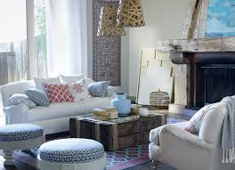Living Rooms:Vintage Coastal Living Room With Rustic Storage Coffee Table  And White Sofa And