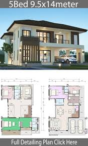House Design Photos With Floor Plan House Design Plan 9 5x14m With 5 Bedrooms Home Design
