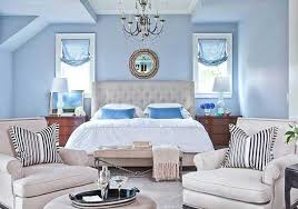 light blue paint, curtains and cushions