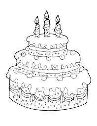Printable Cake Happy Birthday Coloring Pages Free Birthday