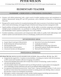 Sample Elementary Teacher Resume Sample Resume Letters Job Application