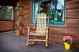 rustic wooden furniture outdoor patio rocking chairs natural color