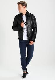 lined collar zip zip pockets inside pocket armani exchange faux leather jacket black arc22l001 q11