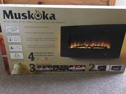muskoka 35 inch curved wall mount electric fireplace