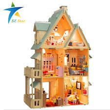 building doll furniture. 13809 Diy Doll House With Furniture Handmade Model Building Kits 3D Villa Miniature Wooden Dollhouse Toy Gifts DE-in Houses From Toys \u0026 Hobbies On