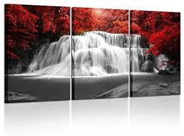 pieces red woods waterfall canvas print