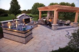 outdoor fireplace and grill by unilock at benson stone co in rockford il