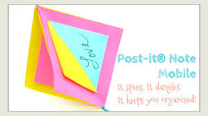 paper crafts diy post it note crafts post it note mobile ornament spinning memo display you