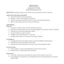 security guard resume objective security officer resume objective mmventures co