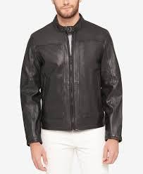 moto leather jacket mens. marc new york men\u0027s snap-collar perforated leather moto jacket mens k
