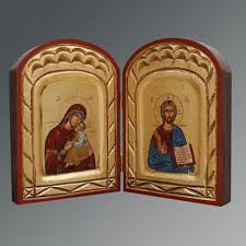 christ mother child um diptych handmade icon