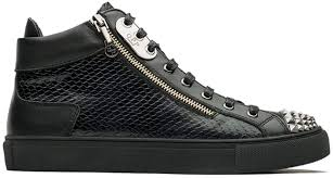 Snake Design Shoes Mens Casual High Top Sneaker Snake Skin Vamp Unique Toe Cap Casual Shoes