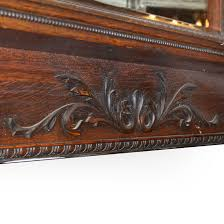 antique quarter sawn oak fireplace mantel with beveled mirror detail