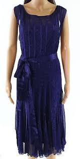 Slny New Midnight Blue Womens Size 18w Plus Shimmer Belted