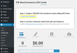 how to create woomerce gift cards
