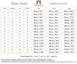 Standard Fit Size Chart Hadassas Size Chart