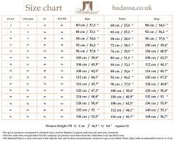Hadassas Size Chart