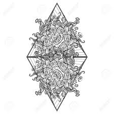 Alchemic Element Of Fire Sign Triangle Pointing Up With Rose