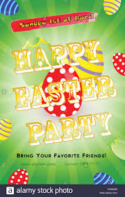 Green Party Flyer Easter Party Invitation Flyer Template With Colorful Eggs On