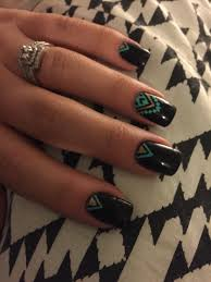 Love these Aztec nails! Black, mint and gold are the so in ...