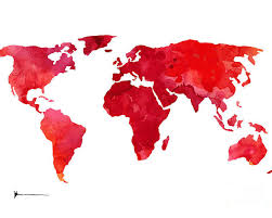 World Map Posters Red World Map Silhouette Art Print Watercolor Painting Poster