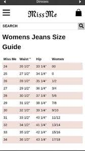 Miss Me Jeans Size Chart 36 Miss Me Jeans Size 36 Chart The Best Style Jeans