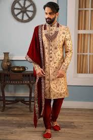 Groom Sherwani Latest Design Designer Rose Gold Jacquard Silk Sherwani For Groom