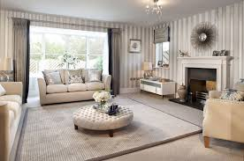 appealing beige living room grey white stripes wall rounded sofa
