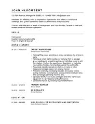 Warehouse Employee Resume