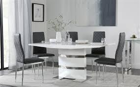 komoro white high gloss dining table 4 6
