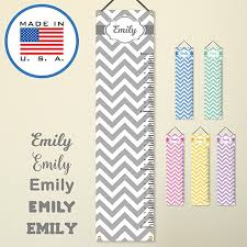 wallclipz personalized hanging growth chart vinyl banner sign gray chevron with name height ruler measurement nursery