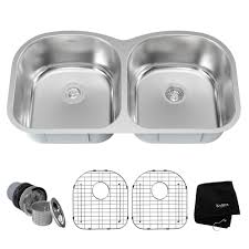 kraus drop in undermount stainless steel 39 in double bowl kitchen sink kit