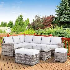 high back rattan garden corner sofa