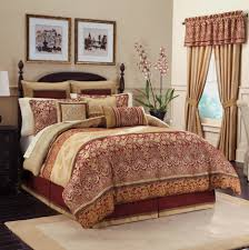 Golden Red Long Curtains Combined With Cream Red Comforter Bedding Set  Placed On The Black Bed In The Cream Wall Room