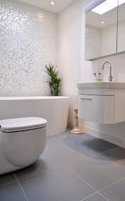 white glass bathroom tiles. Ideas Charming Grey And White Bathroom With Glass Mosaic Wall Tile Closed To Freestanding Bathtubs Tiles