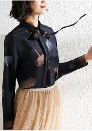 <b>Women</b> Shirt <b>2019</b> New <b>Ginkgo Leaf</b> Print Ribbon Long Sleeve Silk ...