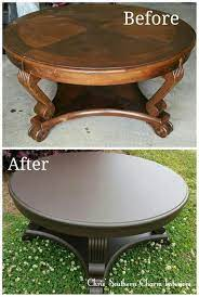 refinished coffee table painted in