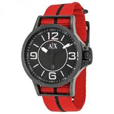armani exchange black dial red and black canvas strap men s watch armani exchange black dial red and black canvas strap men s watch ax1582