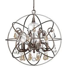 crystorama solaris 5 lt gold crystal bronze sphere chandelier 9026 eb gs
