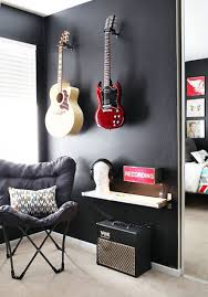 Boys Music Bedroom With Guitar Shelving