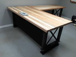 l office desk. L Shape, Iron Crossbar And Oak Office Desk #metal #wood #furniture .