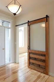 sliding barn door with large glass window