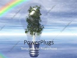 Light Tree Ppt Powerpoint Template Light Bulb With Tree As Filament Over