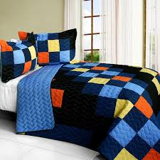 Navy Blue Orange Pixels Teen Boy Bedding Full/Queen Quilt Set ... & Navy Blue Orange Pixels Teen Boy Bedding Full/Queen Quilt Set Modern  Geometric Bedspread Adamdwight.com